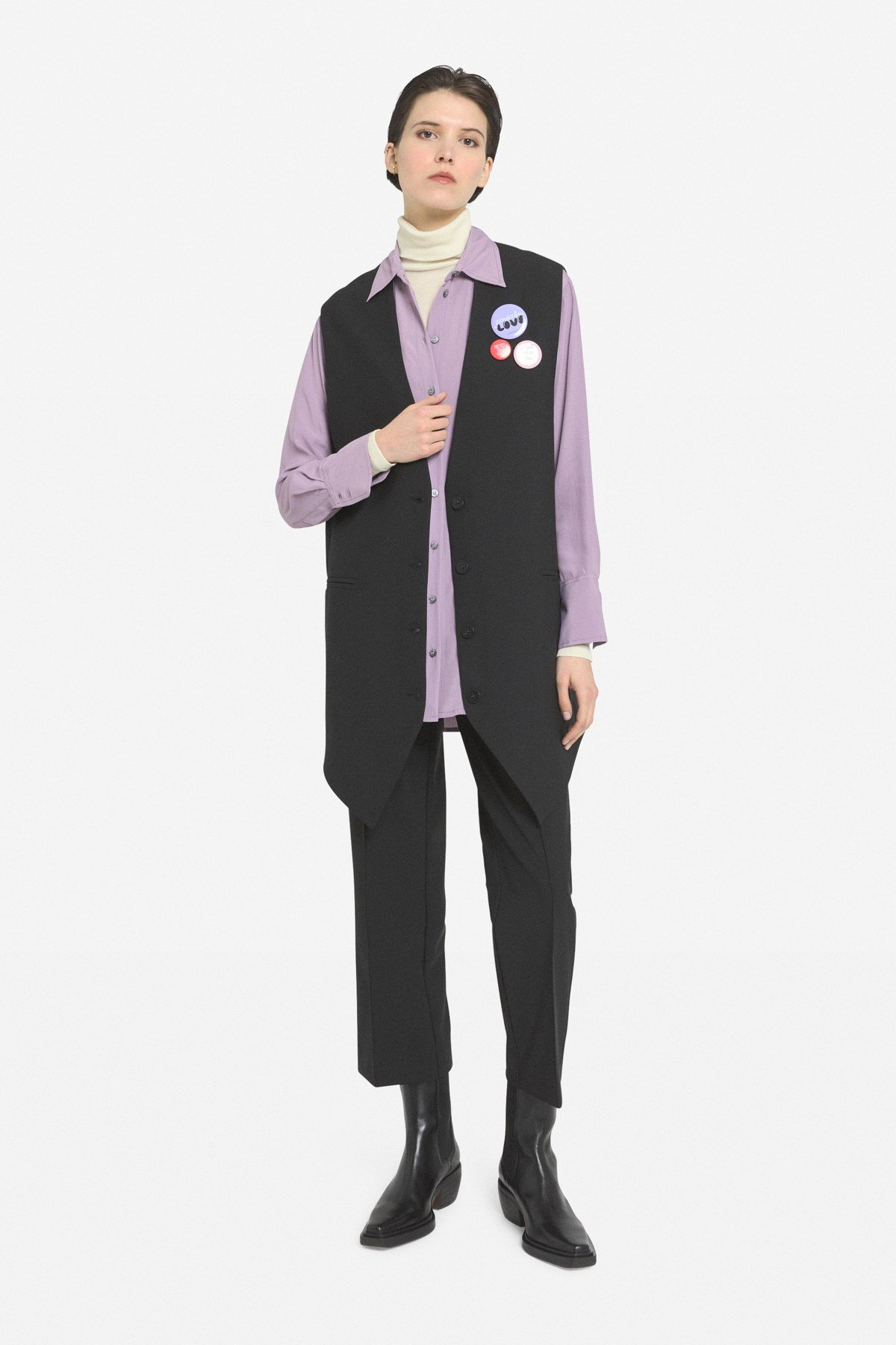 Oversized waistcoat with 3 buttons