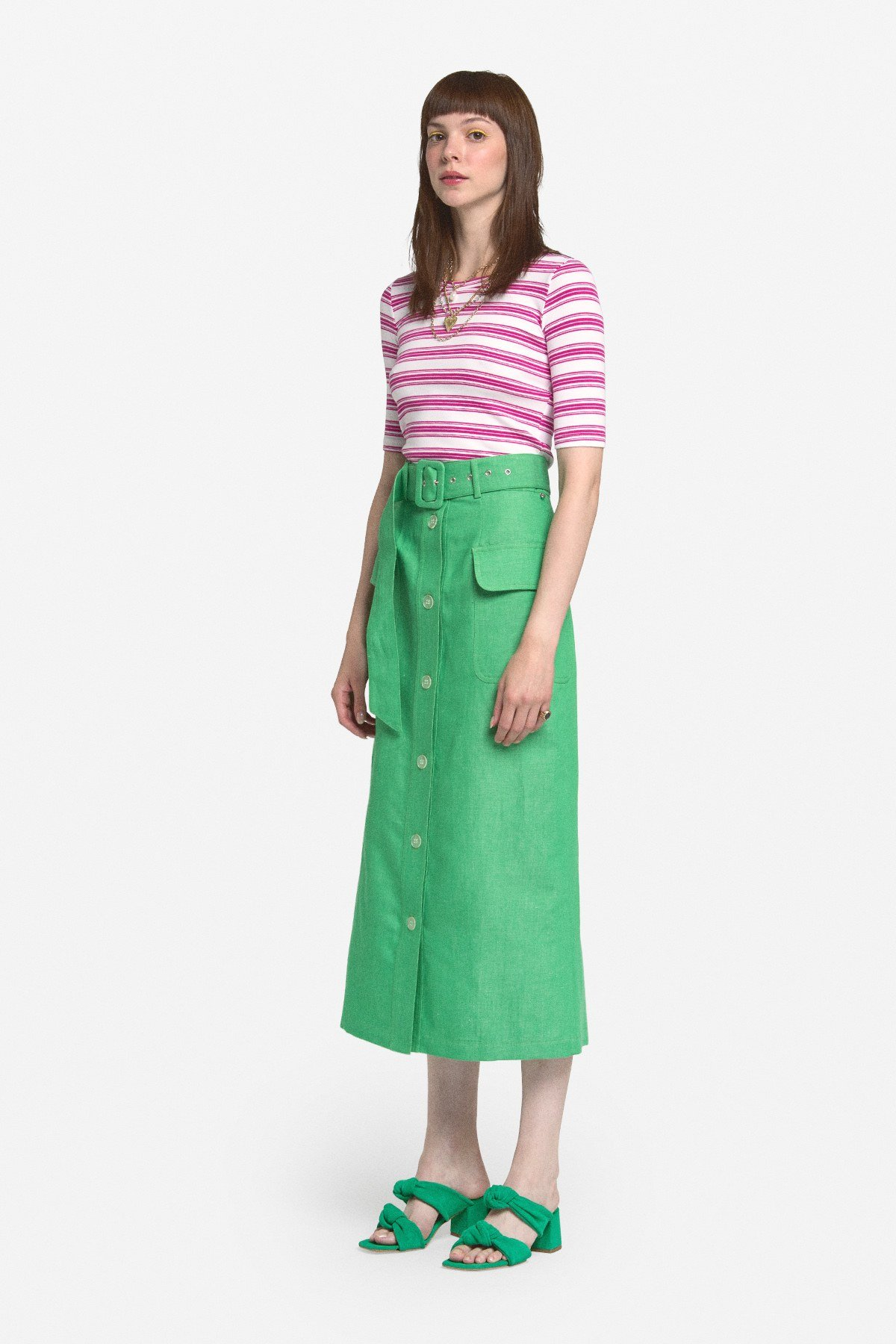 Linen blend midi skirt