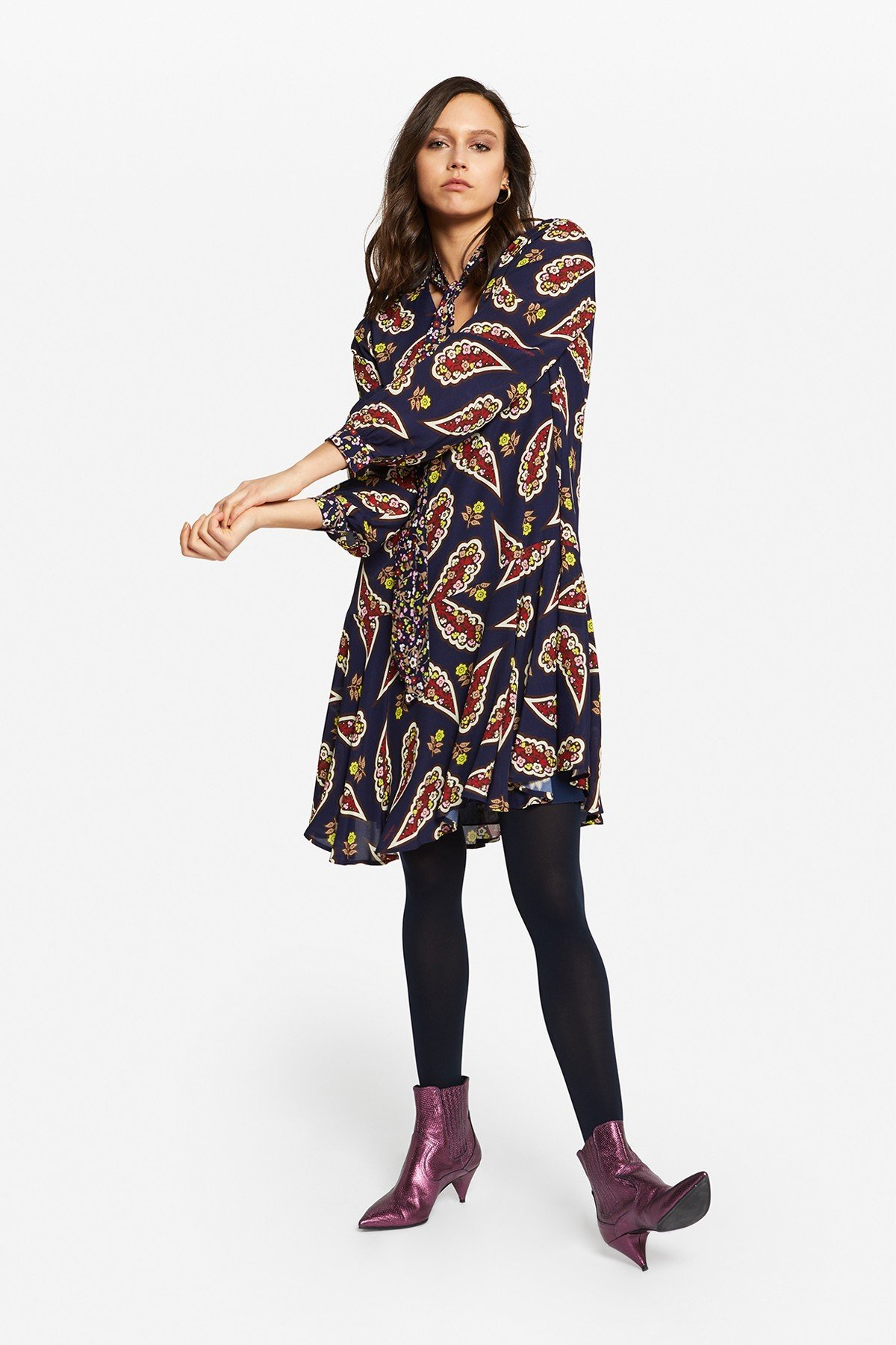 Printed viscose flared mini dress