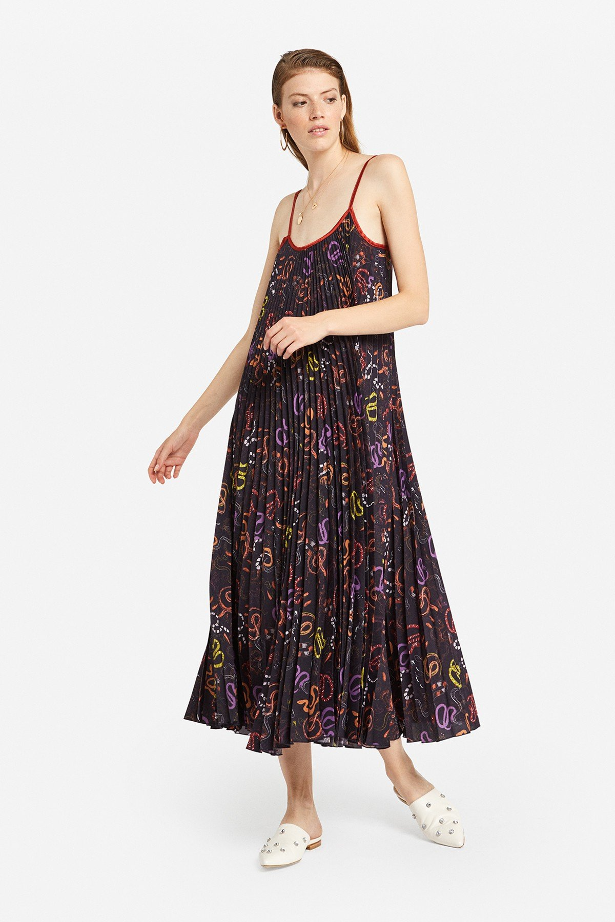 """Pleated long dress with """"Snake"""" print"""